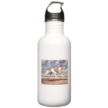 Whippet on the Beach Water Bottle