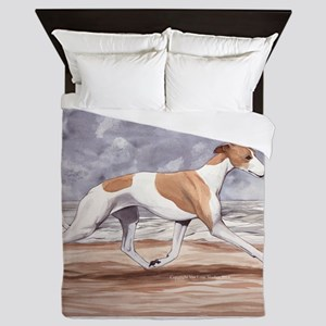 Whippet on the Beach Queen Duvet