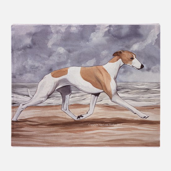 Whippet on the Beach Throw Blanket