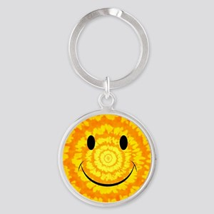 Tie Dye Smiley Face Keychains