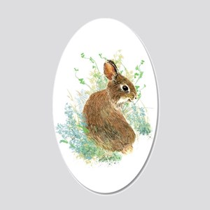 Cute Watercolor Bunny Rabbit 20x12 Oval Wall Decal