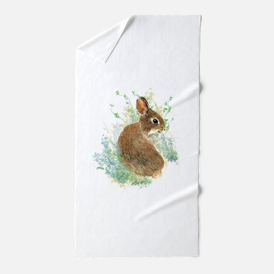 Cute Watercolor Bunny Rabbit Pet Animal Beach Towe
