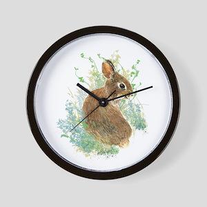Cute Watercolor Bunny Rabbit Pet Animal Wall Clock