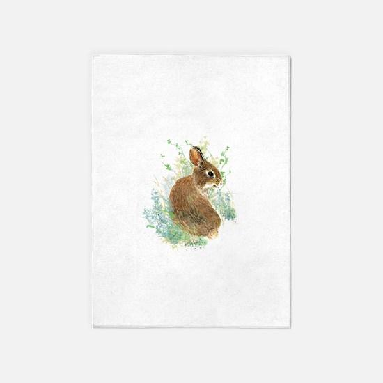 Cute Watercolor Bunny Rabbit Pet 5'x7'area Rug