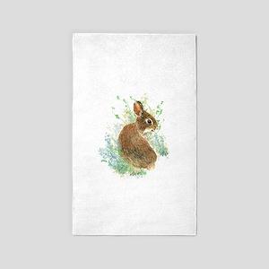 Cute Watercolor Bunny Rabbit Pet Animal 3'x5' Area