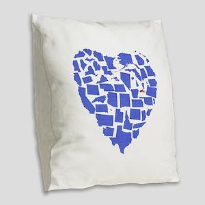 Massachusetts Burlap Throw Pillow