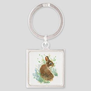 Cute Watercolor Bunny Rabbit Pet Animal Keychains
