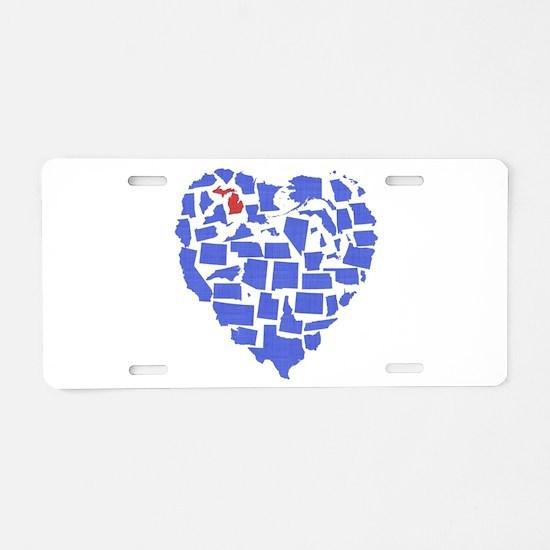 Michigan Heart Aluminum License Plate