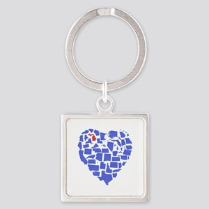 Michigan Heart Square Keychain