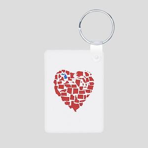 Michigan Heart Aluminum Photo Keychain