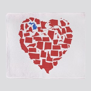 Michigan Heart Throw Blanket