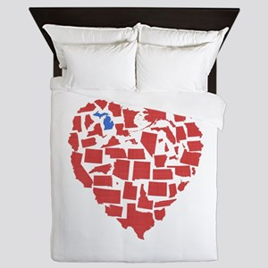 Michigan Heart Queen Duvet