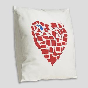 Michigan Heart Burlap Throw Pillow