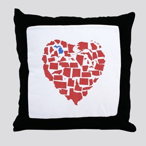 Michigan Heart Throw Pillow