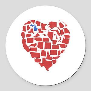 Michigan Heart Round Car Magnet