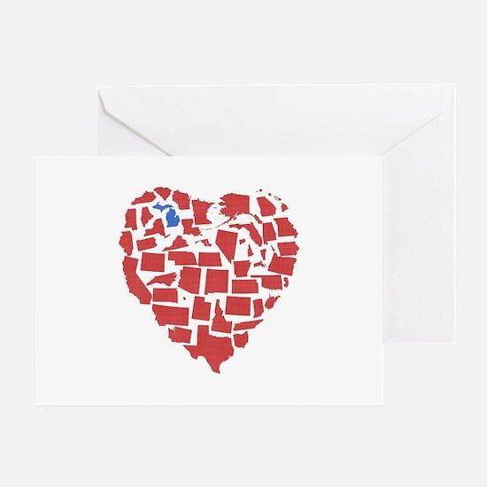 Michigan Heart Greeting Card