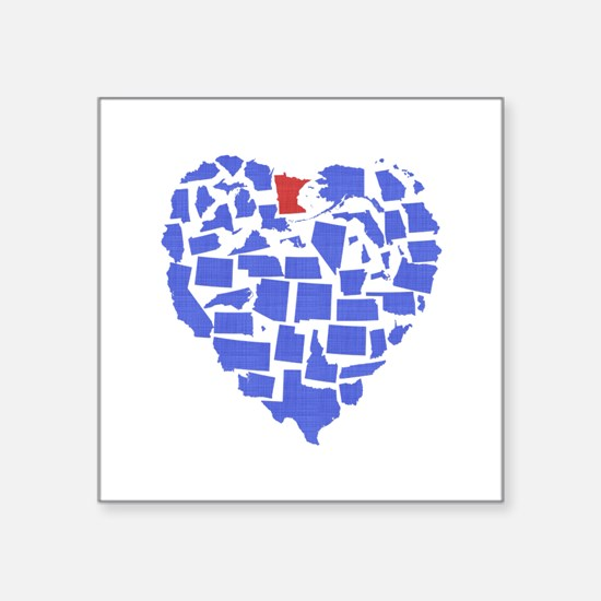 "Minnesota Heart Square Sticker 3"" x 3"""