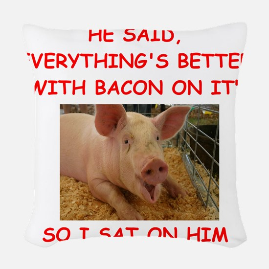 pig humor Woven Throw Pillow