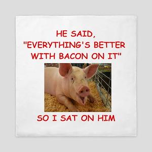 pig humor Queen Duvet