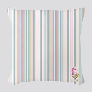Floribunda Stripes Woven Throw Pillow