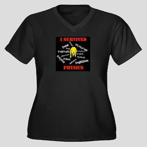 I Survived Physics Women's Plus Size V-Neck Dark T