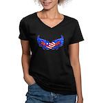 Heart Flag ver3 Women's V-Neck Dark T-Shirt