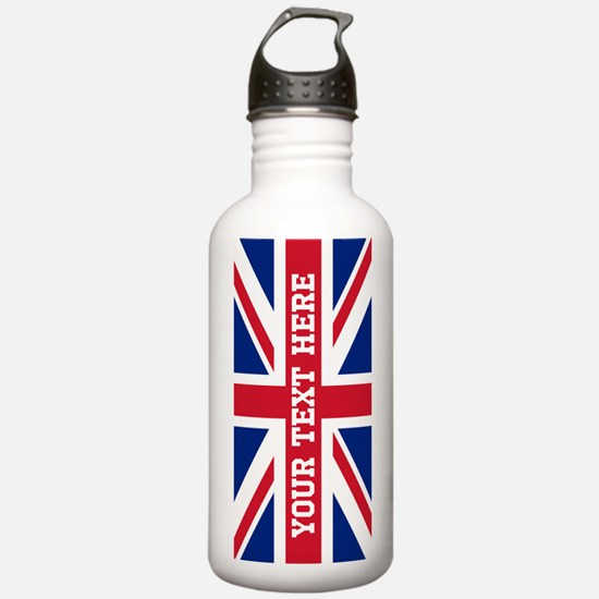 Personalize Union Jack Flag Water Bottle