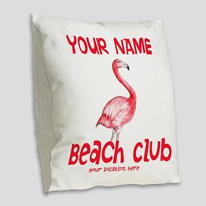 Custom Beach Club Burlap Throw Pillow
