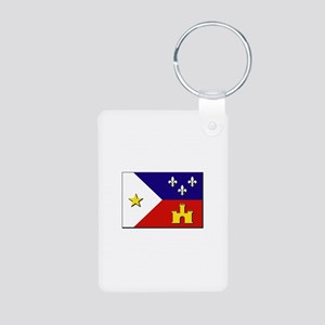 Flag of Acadiana Aluminum Photo Keychain
