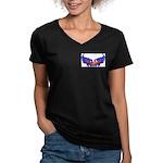Heart Flag ver4 Women's V-Neck Dark T-Shirt