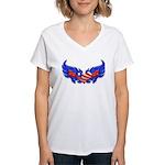 Heart Flag ver4 Women's V-Neck T-Shirt