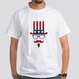 Uncle Sam Glasses And Mustache White T-Shirt