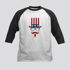 Uncle Sam Glasses And Mustach Kids Baseball Jersey