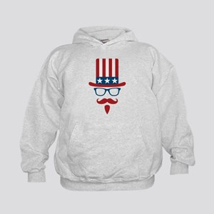 Uncle Sam Glasses And Mustache Kids Hoodie