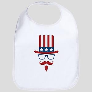 Uncle Sam Glasses And Mustache Bib