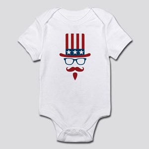 Uncle Sam Glasses And Mustache Infant Bodysuit