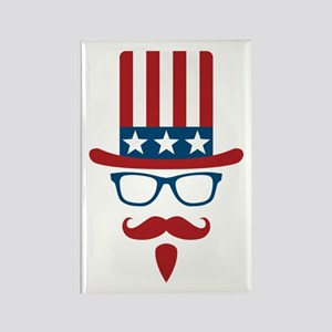 Uncle Sam Glasses And Mustache Rectangle Magnet