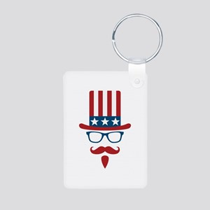 Uncle Sam Glasses And Must Aluminum Photo Keychain