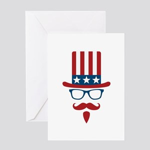 Uncle Sam Glasses And Mustache Greeting Card