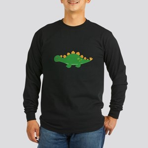 Cute Green Stegosaurus Dinosaur Long Sleeve T-Shir