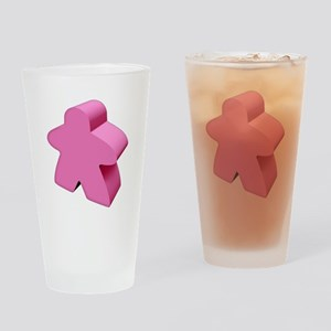 Pink Meeple Drinking Glass