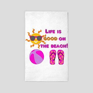 Life is good on the beach! 3'x5' Area Rug