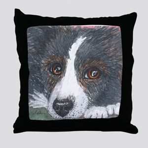 Thoughtful Border Collie dog Throw Pillow