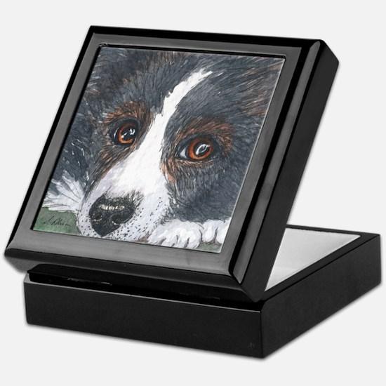 Thoughtful Border Collie dog Keepsake Box