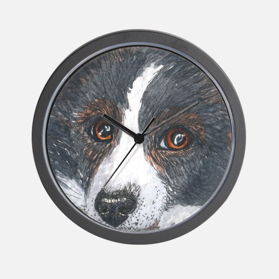 Thoughtful Border Collie dog Wall Clock