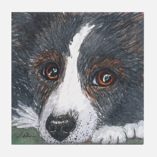Thoughtful Border Collie dog Tile Coaster