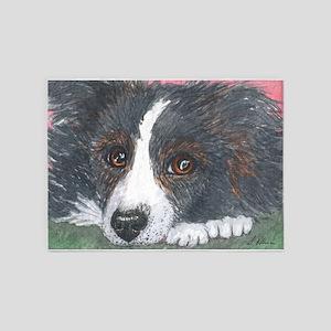 Thoughtful Border Collie dog 5'x7'Area Rug