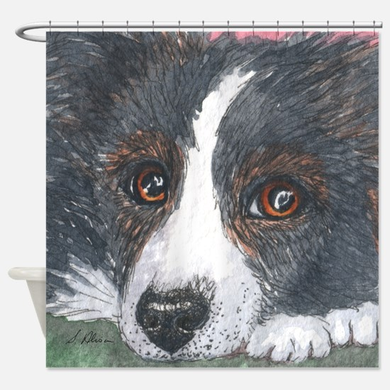 Thoughtful Border Collie dog Shower Curtain
