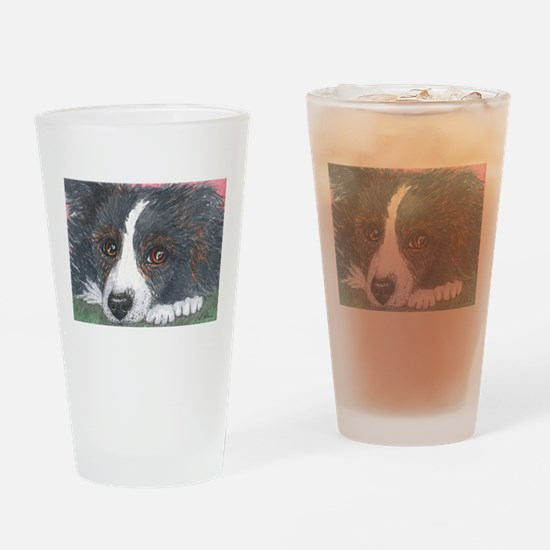 Thoughtful Border Collie dog Drinking Glass