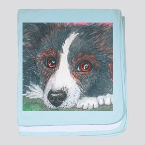 Thoughtful Border Collie dog baby blanket